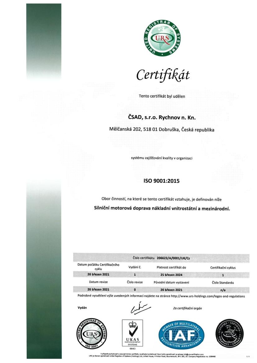 ČSAD, s.r.o. Rychnov n. Kn. cert ISO 9001 CZ