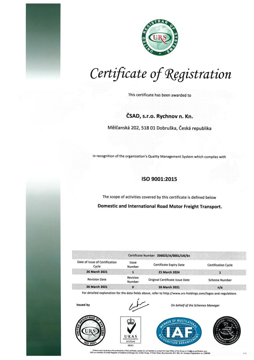 ČSAD, s.r.o. Rychnov n. Kn. cert ISO 9001 ENG